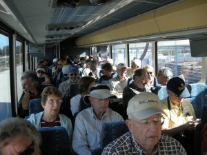A busload of tourists, heading out to the farm.