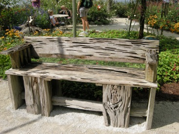 Pecky cypress bench. A local sawmill donated this wood.