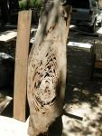 Java Plum board with pecky cypress plank.