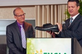 President Mike Marshall giving big shoes to fill to new President, Sandy Stein.