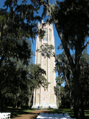205' tall tower: Iron frame, marble and coquina exterior. At the top is a carillon of bells that ring every 30 minutes.