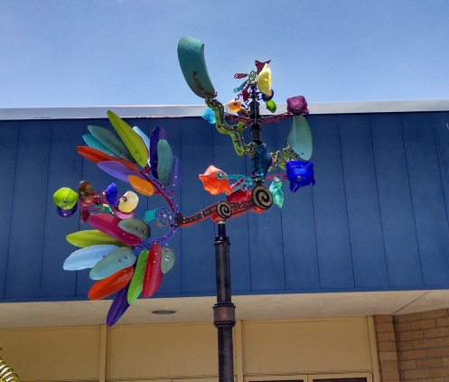 This colorful creation welcomes visitors at the entrance.