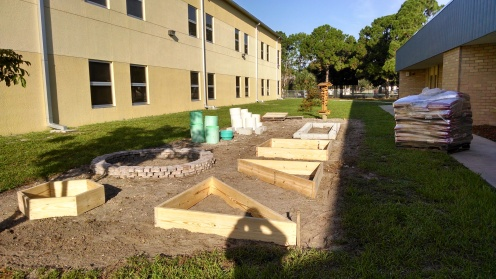 Lumber beds placed on the ground.