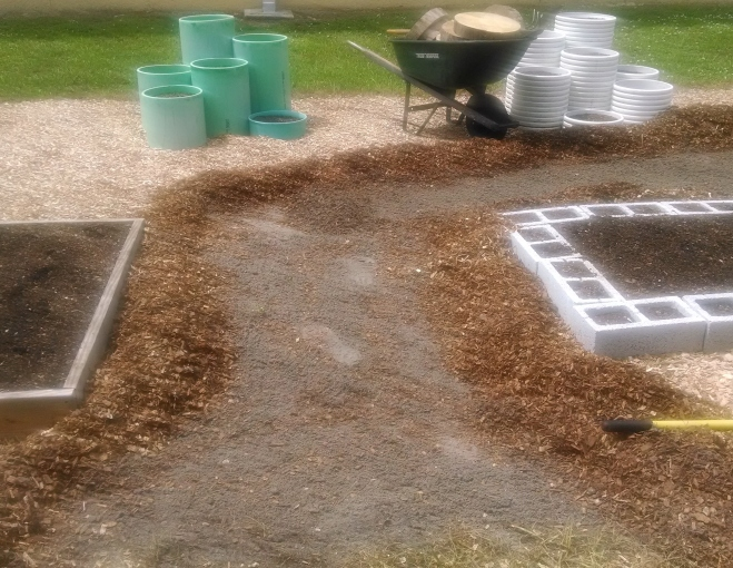 Rake away the mulch down to smooth sand.