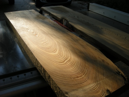 Main cypress board after going through the planing machine. I count 45 rings.