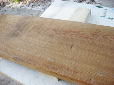 "Here is the main board before running through the planer. It's 1 1/2"" thick."