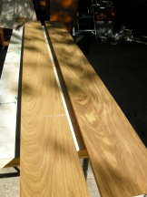 Afrormosia, a weather resistant hardwood from Africa. Purchased from Alva Hardwoods.