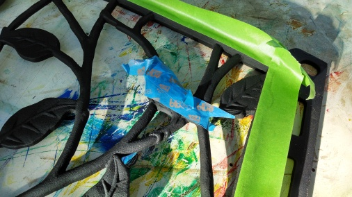 I masked the frame and the birds, then painted the leaves two-toned green.