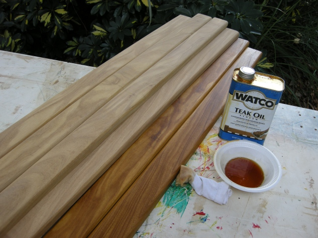 """I ripped the wide boards down to 2.5"""" wide, then rounded the edges on the router. One coat of Teak Oil brought out the grain."""
