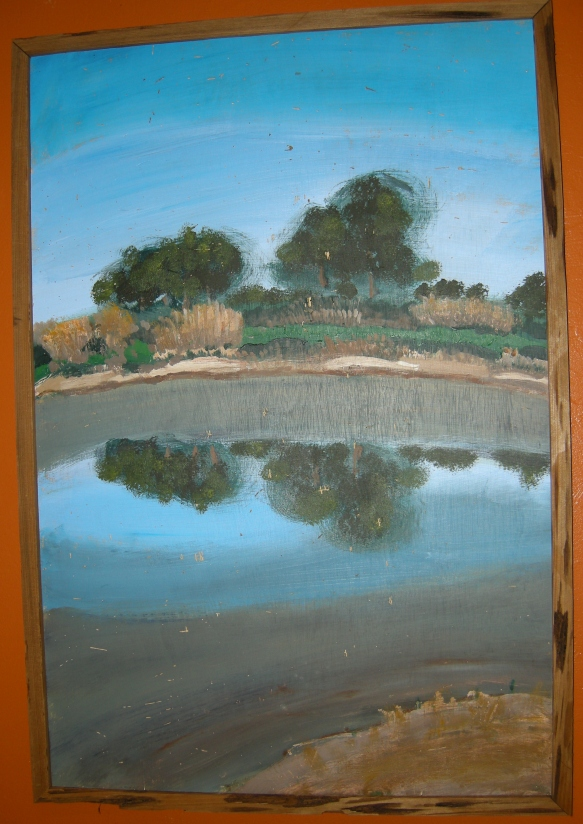 """Aluminum Lake"". Acrylic on wood panel. I bought this 1/4"" thick plywood because it was riddled with worm holes. I included them in this landscape scene of a nearly dry pond, waiting for rain in Punta Gorda."