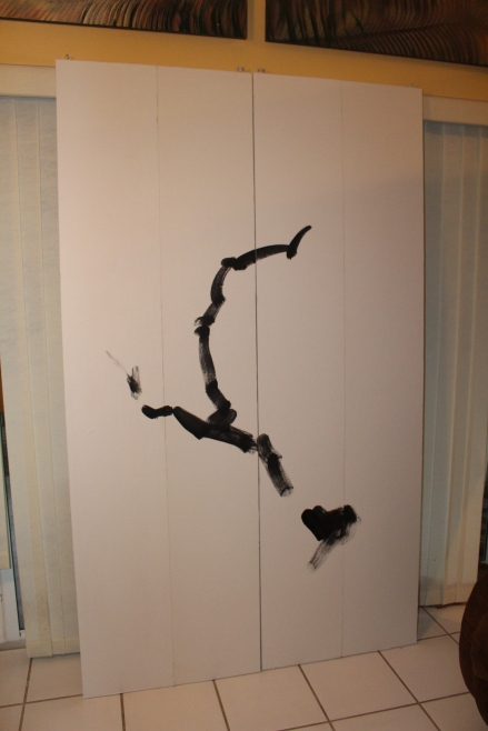 "My son likes all things Japanese. So I converted his closet doors into a Sumi painting. I covered the doors with flat panels, then covered them with ""rice"" paper. Trunk first, then branches."