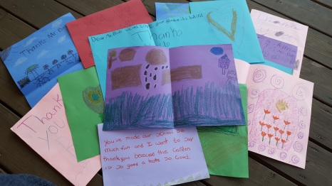Kind, personal sentiments and garden designs...from fourth graders!