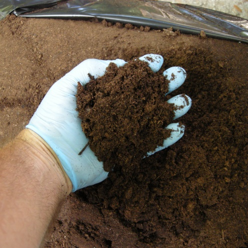 Peat. To make a finer container you should screen it to remove sticks and make it finer.