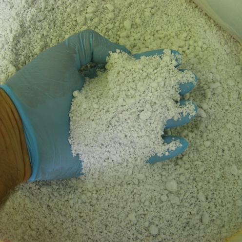 Raw perlite. Wear goggles and dust mask when handling.