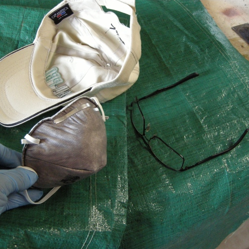 Mixing gear: Dust mask, glasses and gloves.