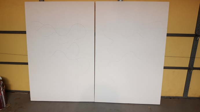 "Two twin canvases stretched over wood panels. 40"" wide by 60"" high, a pleasant rectangle."
