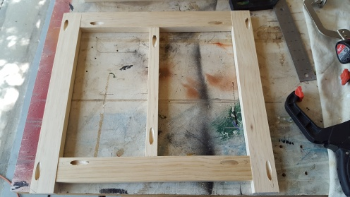 Inside frame that the drawers will ride on. Pocket hole joinery.
