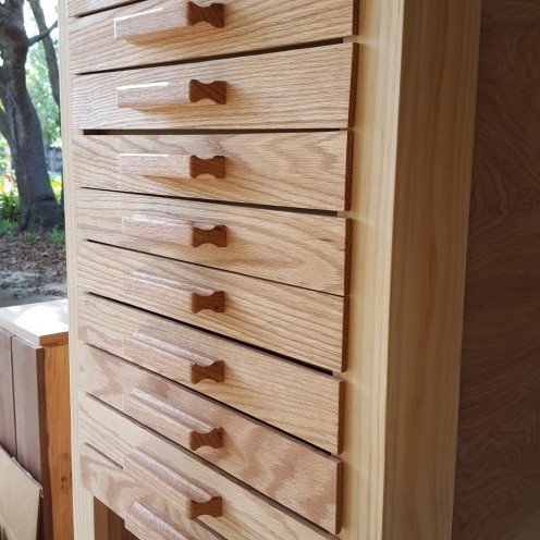 """The drawers are faced with 1/4"""" thick red oak."""