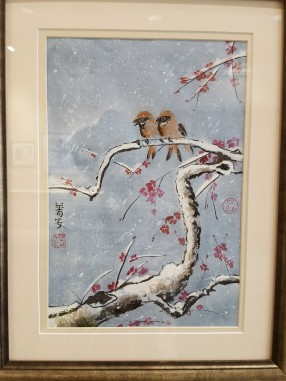 """The main hallway is an art gallery. Water color by Anne Pullin 'A Promise of Spring""""."""