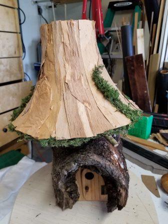 Melaleuca bark glued onto a lampshade.
